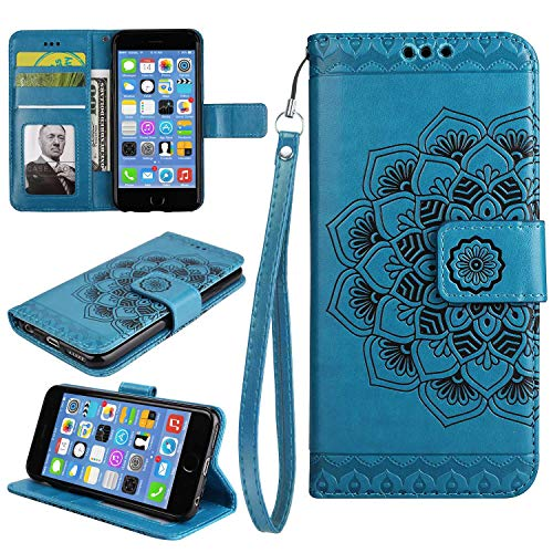 Galaxy A3 2016 Case, Bear Village Leather Wallet Cover, Anti-Scratch Embossing PU Case with Magnetic Closure and Card Slots for Samsung Galaxy A3 2016 (#6 Blue)