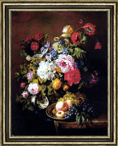 Adriana-Johanna Haanen Roses Peonies Poppies Tulips And Syringa In A Terracotta Pot With Peaches And Grapes On A Copper Ewer On A Draped Marble Ledge - 18.1