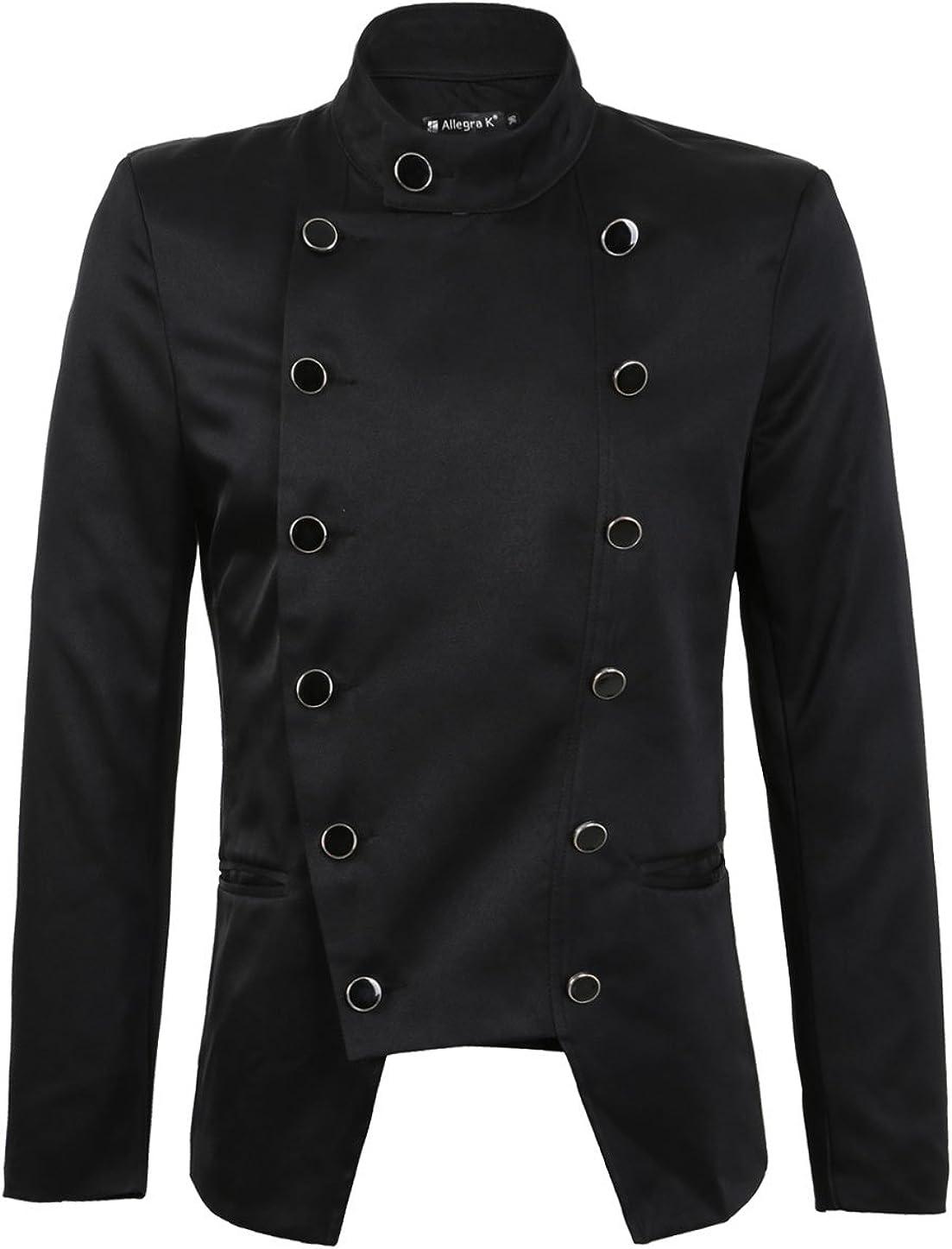 uxcell Men Casual Slim Fit Pocket Irregular Double Breasted Suit Jacket Blazer