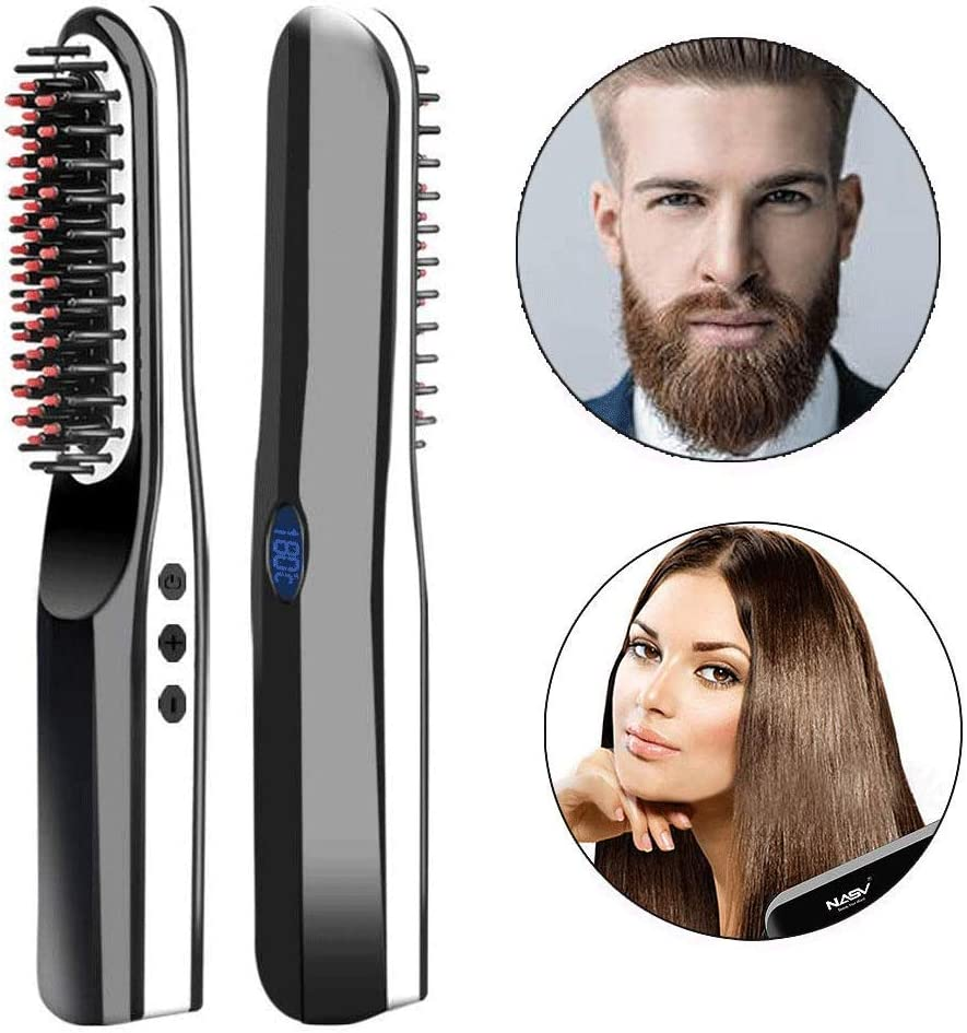 Wooymo Beard Straightener Comb, USB Rechargeable Cordless Hair straightening Brush with Anti ScaldAuto Shut OffLed DisplayAdjustable Temperatures