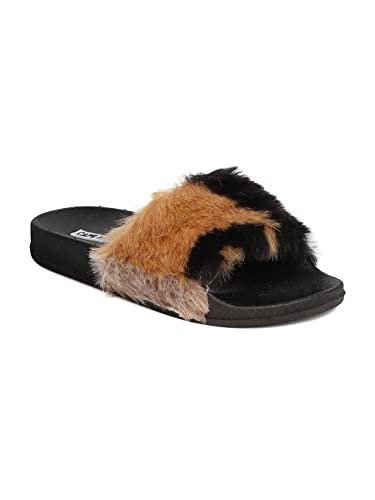 Media Cape Robbin Toe Mixed Open Footbed Women Gd11 Furry Sandal ZkiOPXulwT