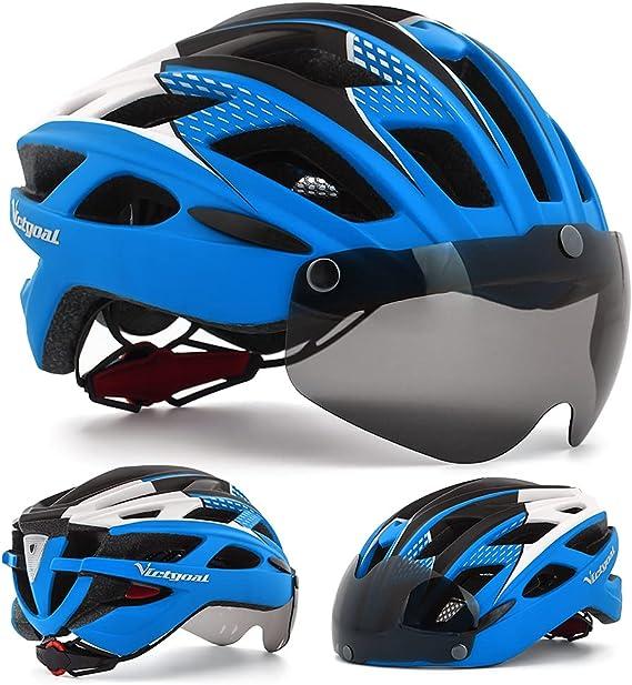 Casco de bicicleta con visera magnética para hombres y mujeres, Victgoal, ciclismo, ciclismo de montaña y carretera, cascos ajustables, protección de ...