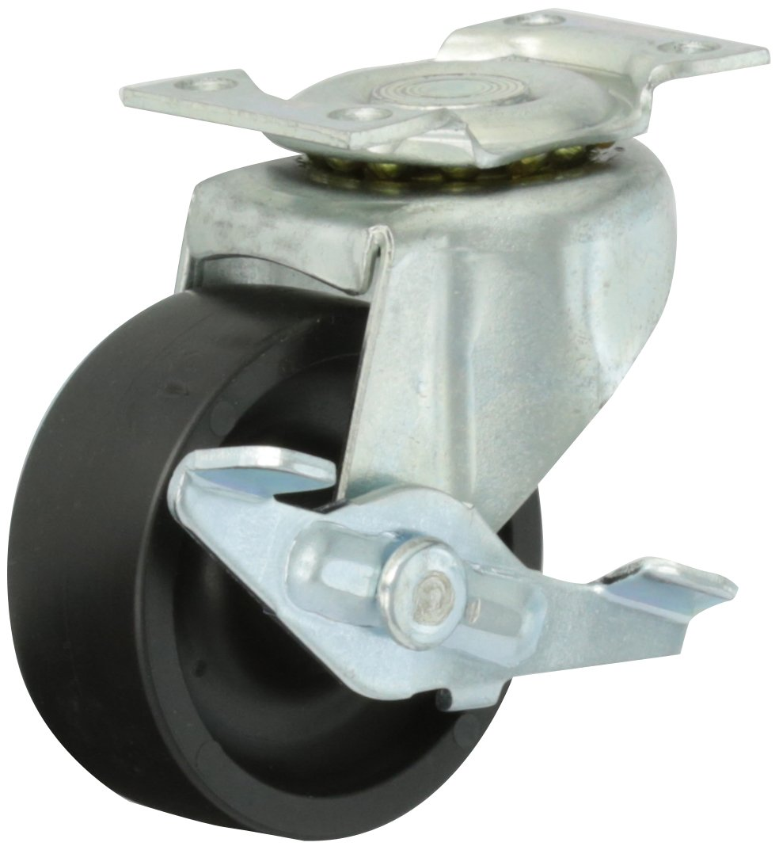 Shepherd Regent Series 2 Diameter Polyolefin Wheel Swivel Caster with Side Brake 90 lbs Capacity 2 Length x 1-3//16 Width Plate Zinc Finish