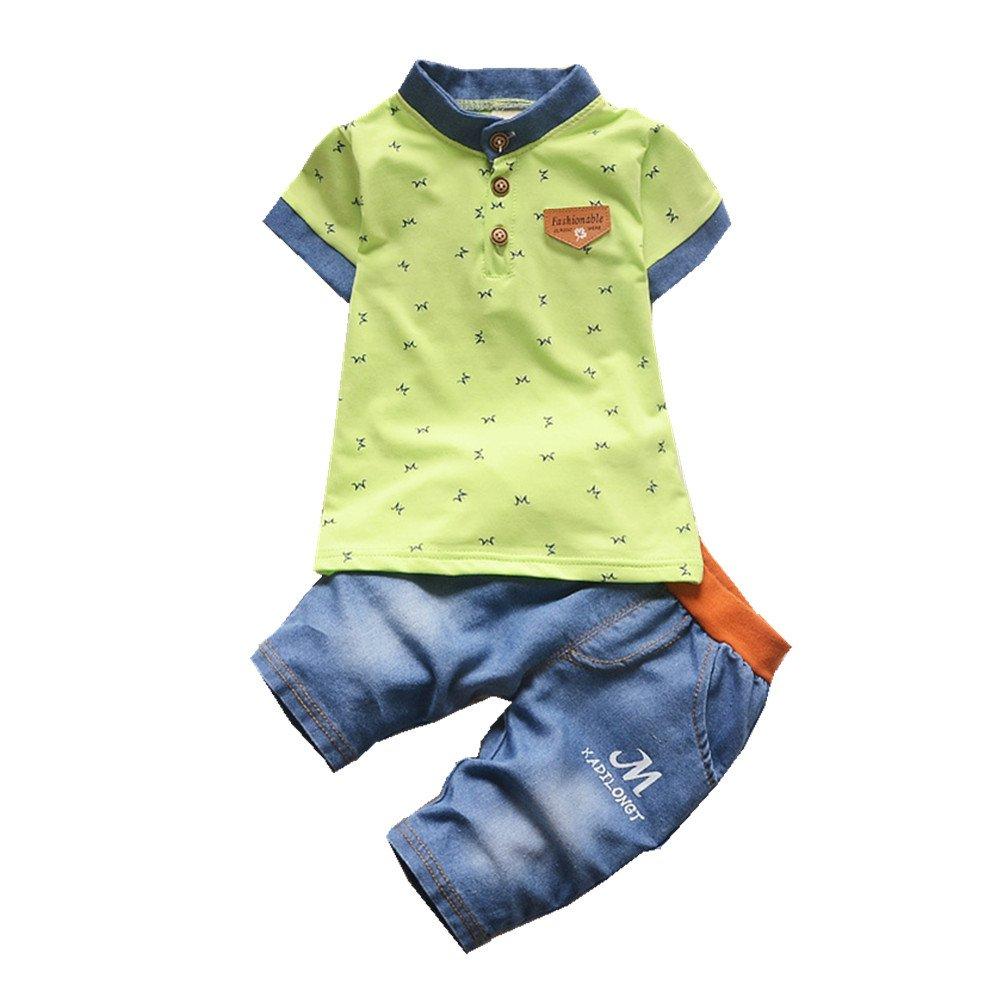 Two-Pieces Sets FTSUCQ Little Boys Button-Down Letter Shirt Top With Denim Shorts