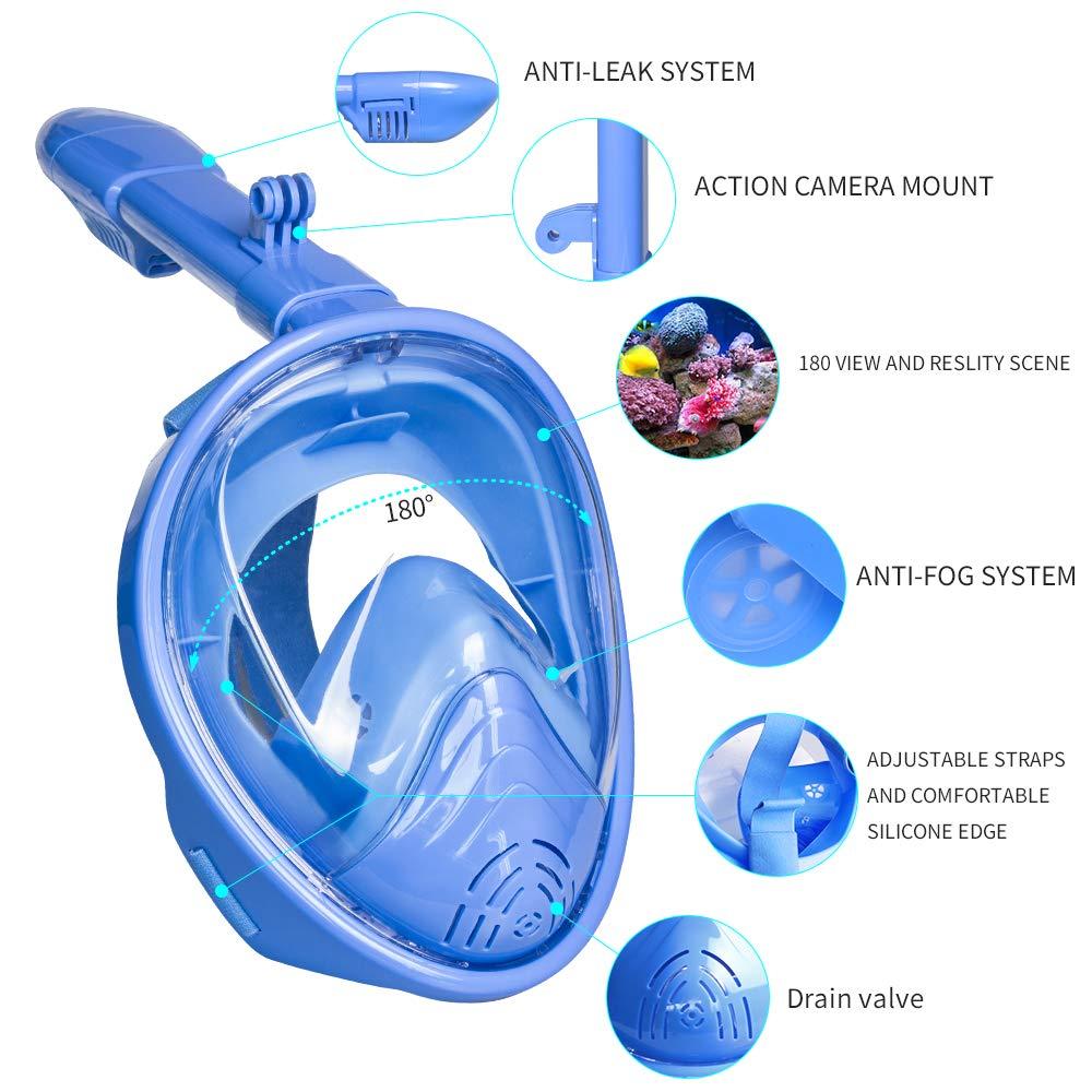 Sanoto Snorkel Mask, Foldable Kids Full Face Snorkeling Mask with Detachable Camera Mount, Anti-Fog Anti-Leak Diving Snorkel