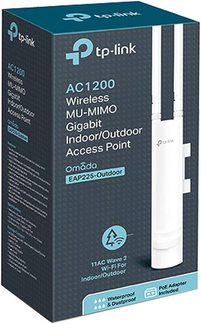 TP-Link EAP225-Outdoor-Omada AC1200 Punto de acceso inalámbrico– Impermeable, Resistente al polvo, Protección contra rayos, 802.11ac wave 2, Gigabit, ...