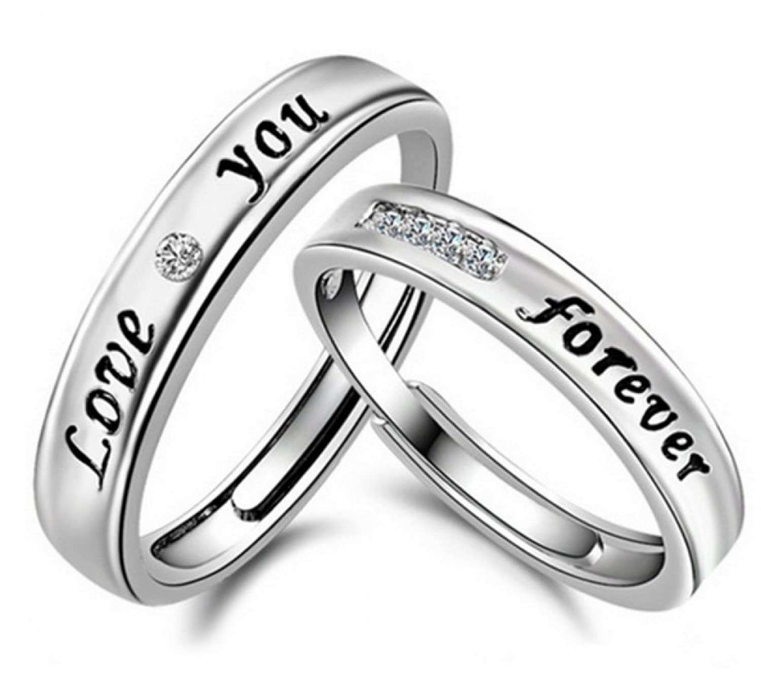 couple finish channel gold set ring promise az evermarker stainless rose wedding rings sandblast products band grooved