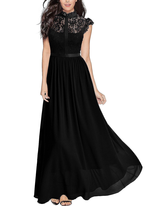 Miusol Women\'s Formal Floral Lace Cap Sleeve Evening Party Maxi ...
