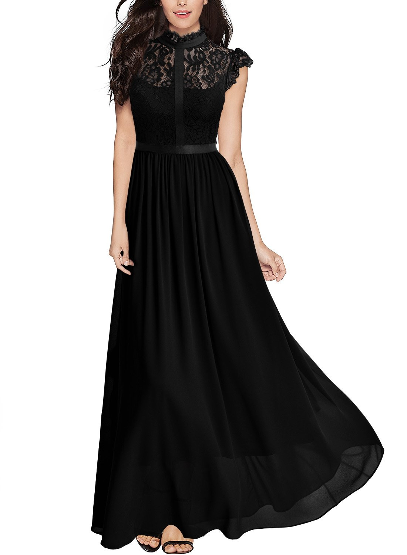 Miusol Women's Formal Floral Lace Cap Sleeve Evening Party Maxi Dress,Black,Large
