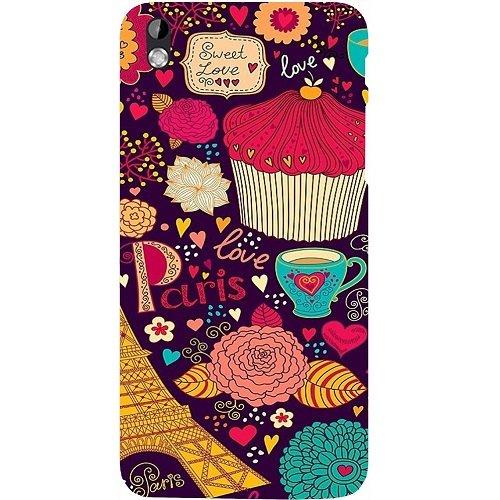 Casotec Paris Flower Love Design Hard Back Case Cover for HTC Desire 816