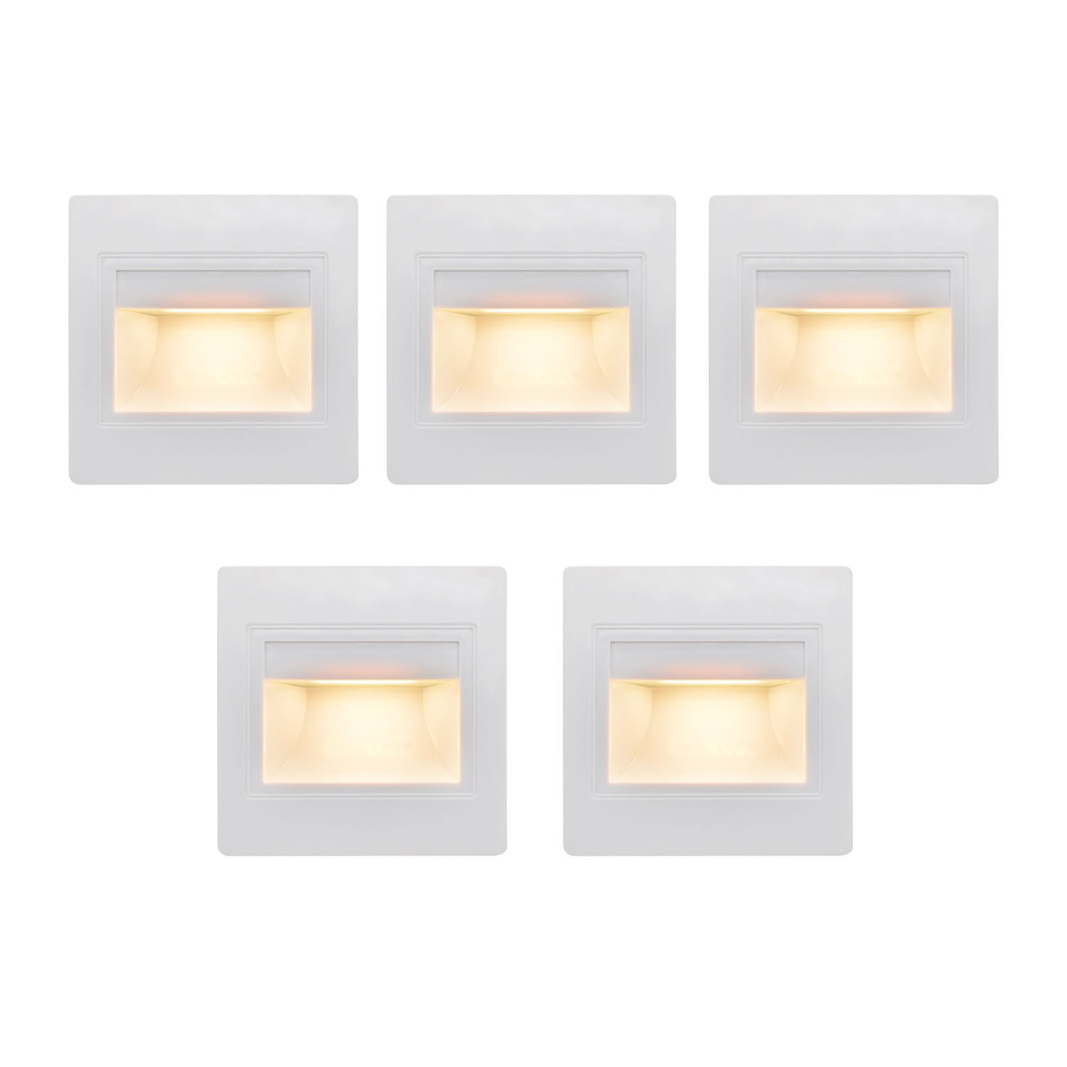 (5 Pack) LED Indoor Step Light, LED Recessed Mini Stair Light, Corner Wall Lamp Night Lighting Fixture, 2.5W 3200K (Warm White)