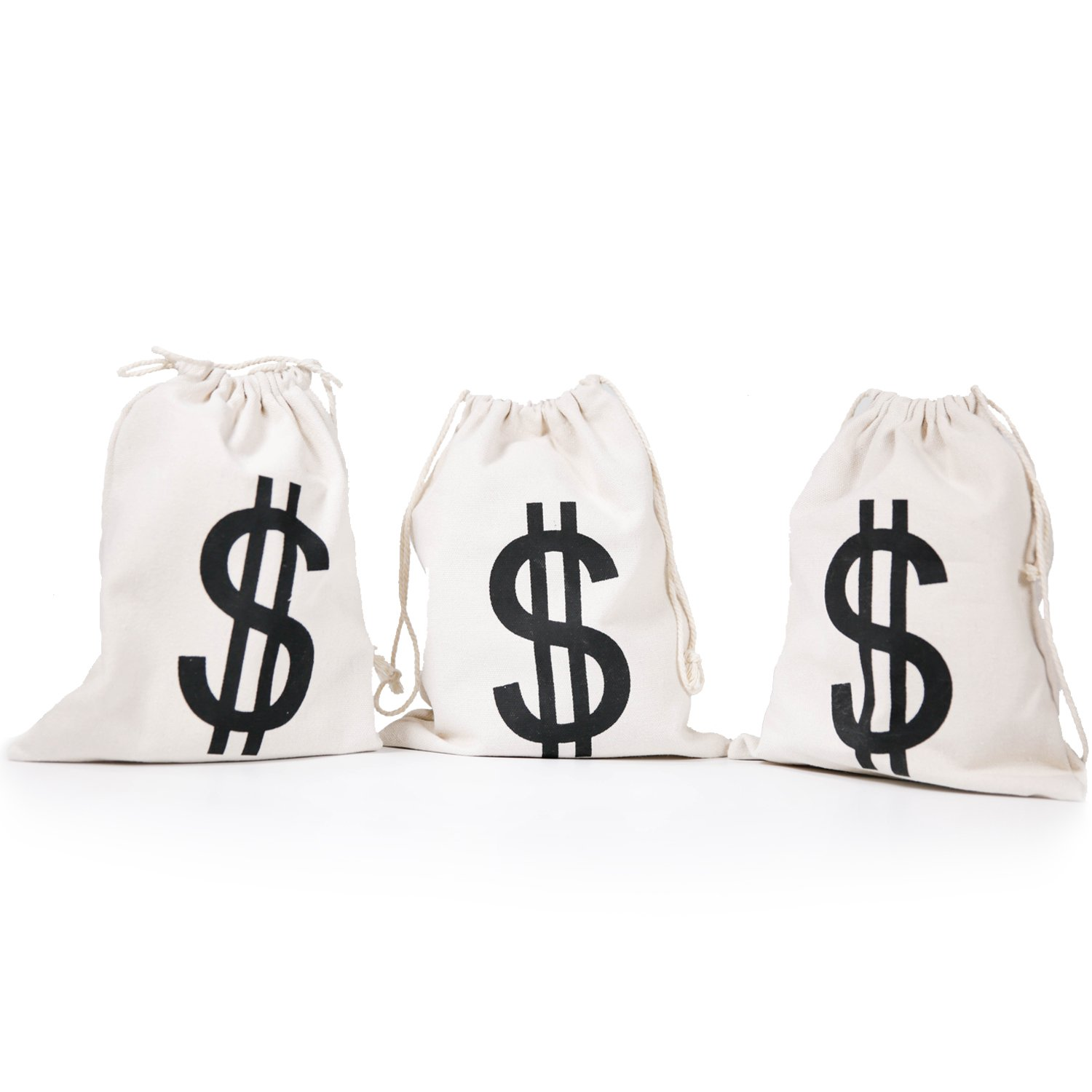 Dollar Sign $ Money Bag 8 x 10 Inches (3pcs/Pkg) Canvas Drawstring Bag Bank Robber Bag Christmas Gift Bag PAUBOLI yw0016-8x10-1