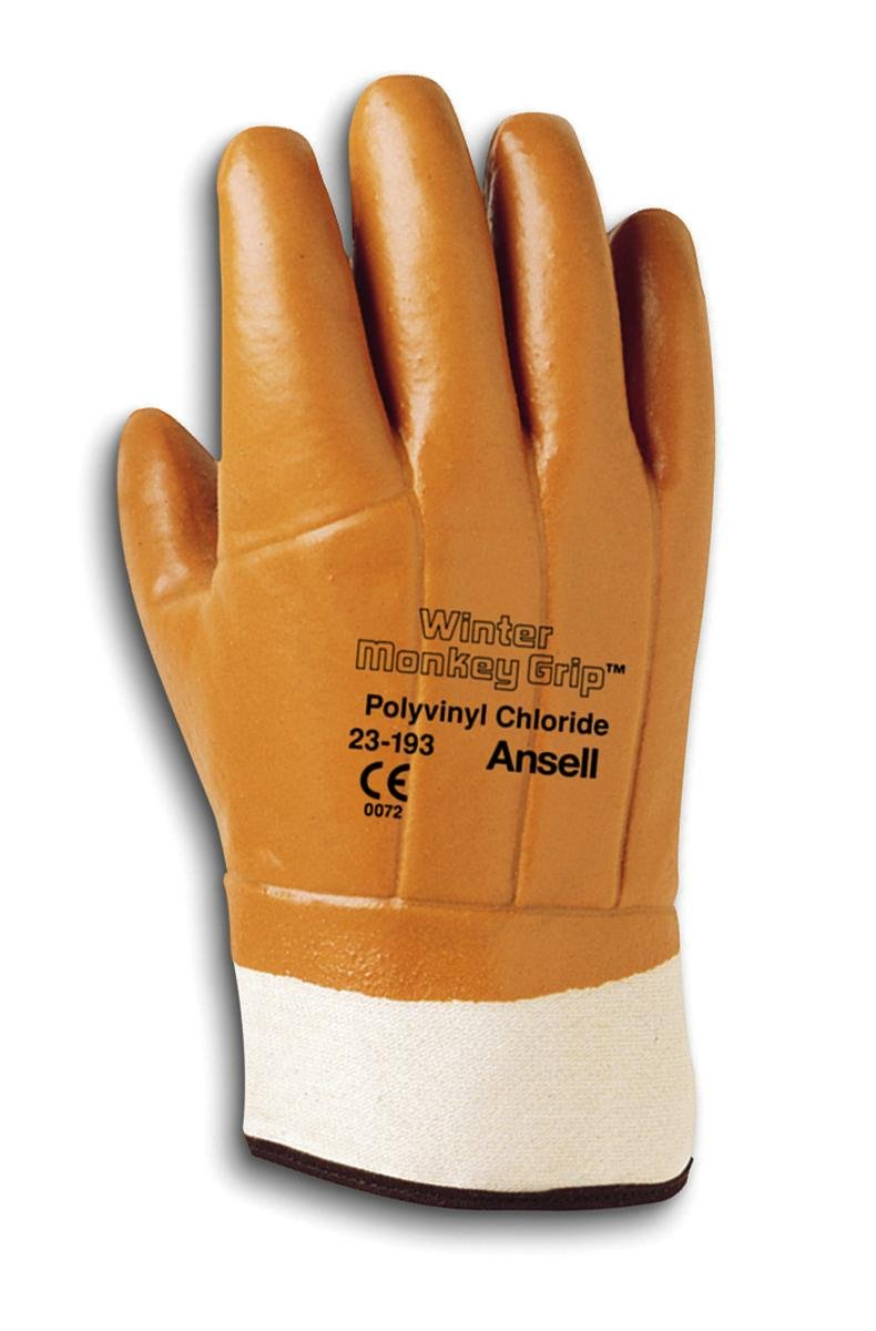 Ansell 23193 Winter Monkey Grip  Vinyl-Coated, Foam-Insulated Gloves, 12'' Length, 11'' Width, 0.46'' Height, Size 10, Orange (Pack of 12)