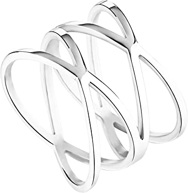 color plata acero inoxidable Anillo de mujer cóctel anillo