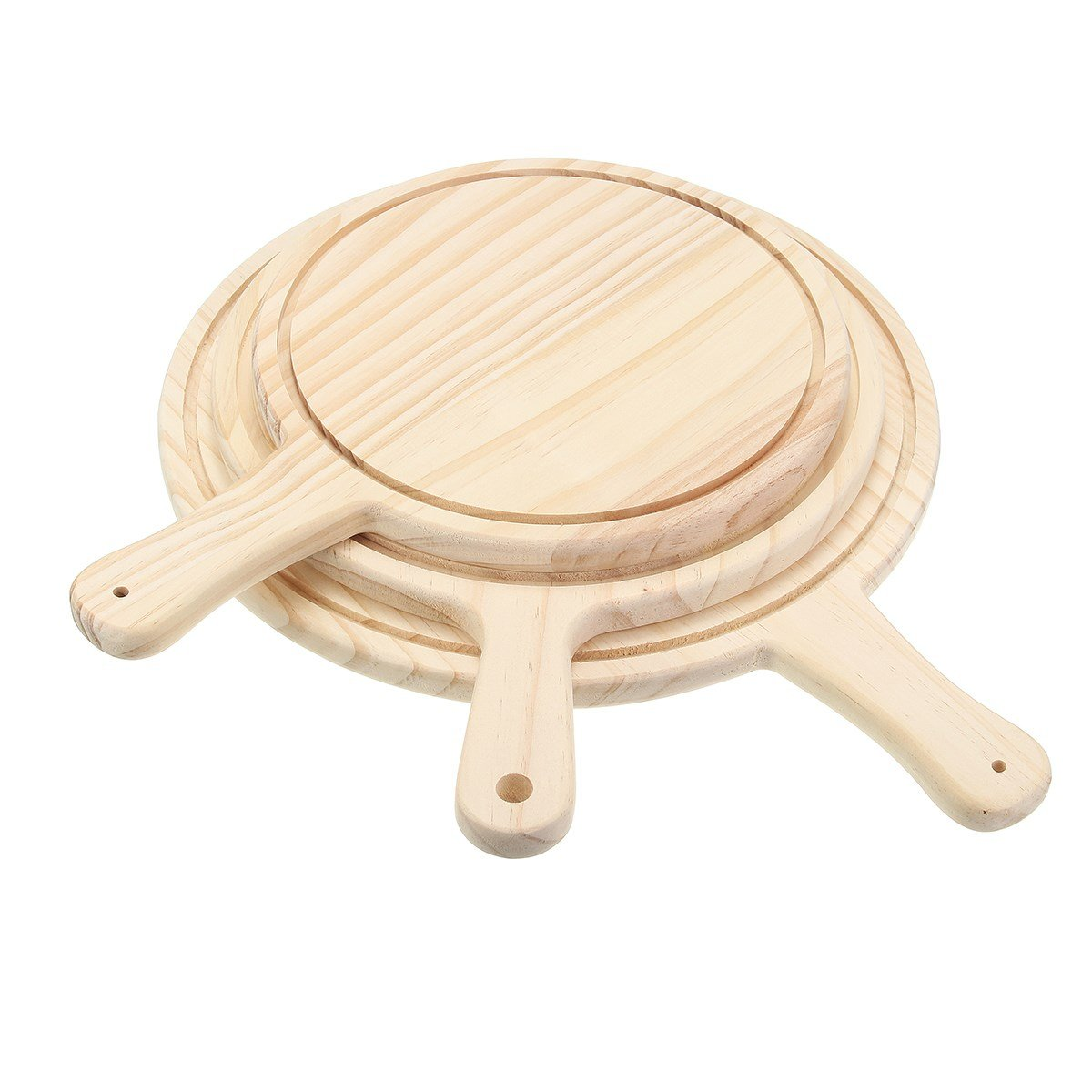 Katoot@ 8/10/12 Inch Pizza Pan Tray Wooden Paddle Peel Plate Pie Pancake Baking Cutting Stand Kitchen Tools Pizza Stones Serving Board (8 inch)