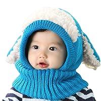 Bonnet Bébé, Bonnet Echarpe Set, Bonnet Hiver pour Bébé, Bébé Unisex Bonnet Chapeau Tricoté, Chapeaux tricoté écharpe Set pour bébé Enfants Filles Garçons