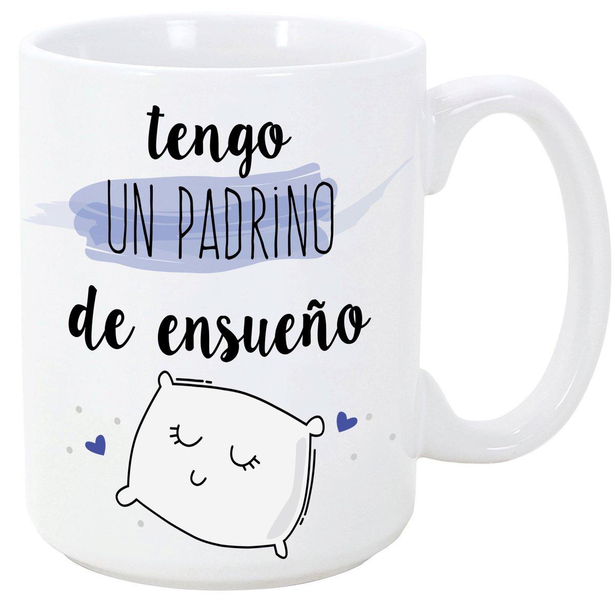 Tazas desayuno originales para regalar a madrinas - Tengo una madrina de ensueño - 350 ml- Tazas con frases y mensajes alegres y divertidos: Amazon.es: ...