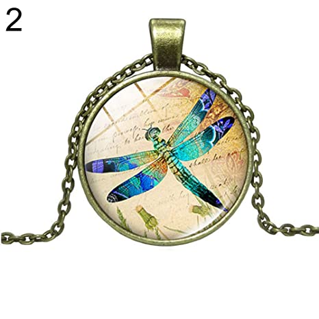 NANIH Home Regalo Vintage Dragonfly Glass Faux Cabochon ...