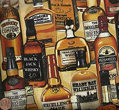 Man Cave Whiskey Bottles Benartex Fabric