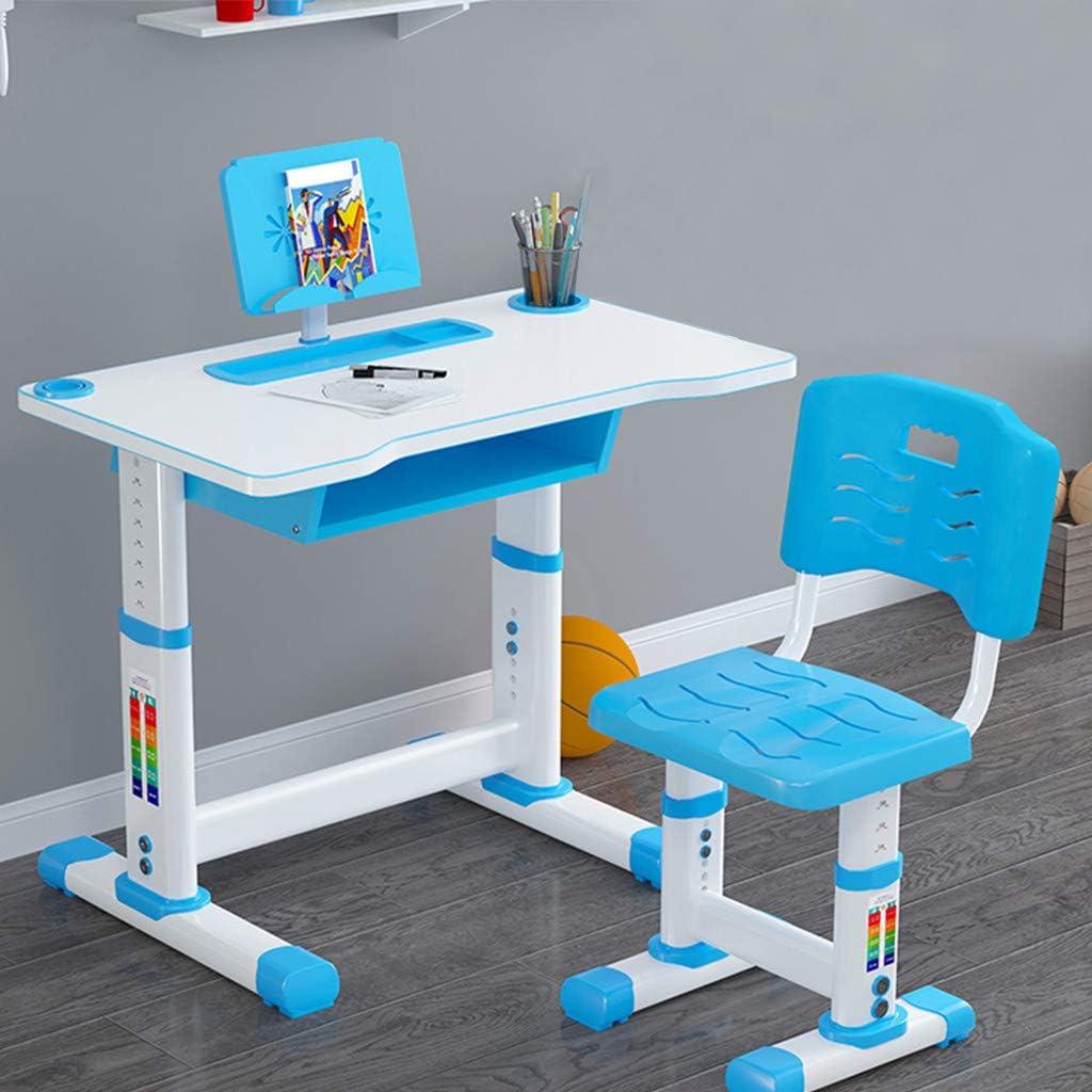 Children Desk Children Study Table with Students Writing Desk Tilt Desktop Storage Drawer Bookstand for Boys /& Girls Height Adjustable Kids Desk and Chair Set Childs Desk W//Lamp