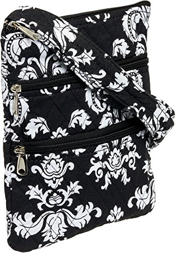 Lilly amp; Hipster Crossbody Black Quilted Adjustable Silver Bag Women's Damask White awHqx8