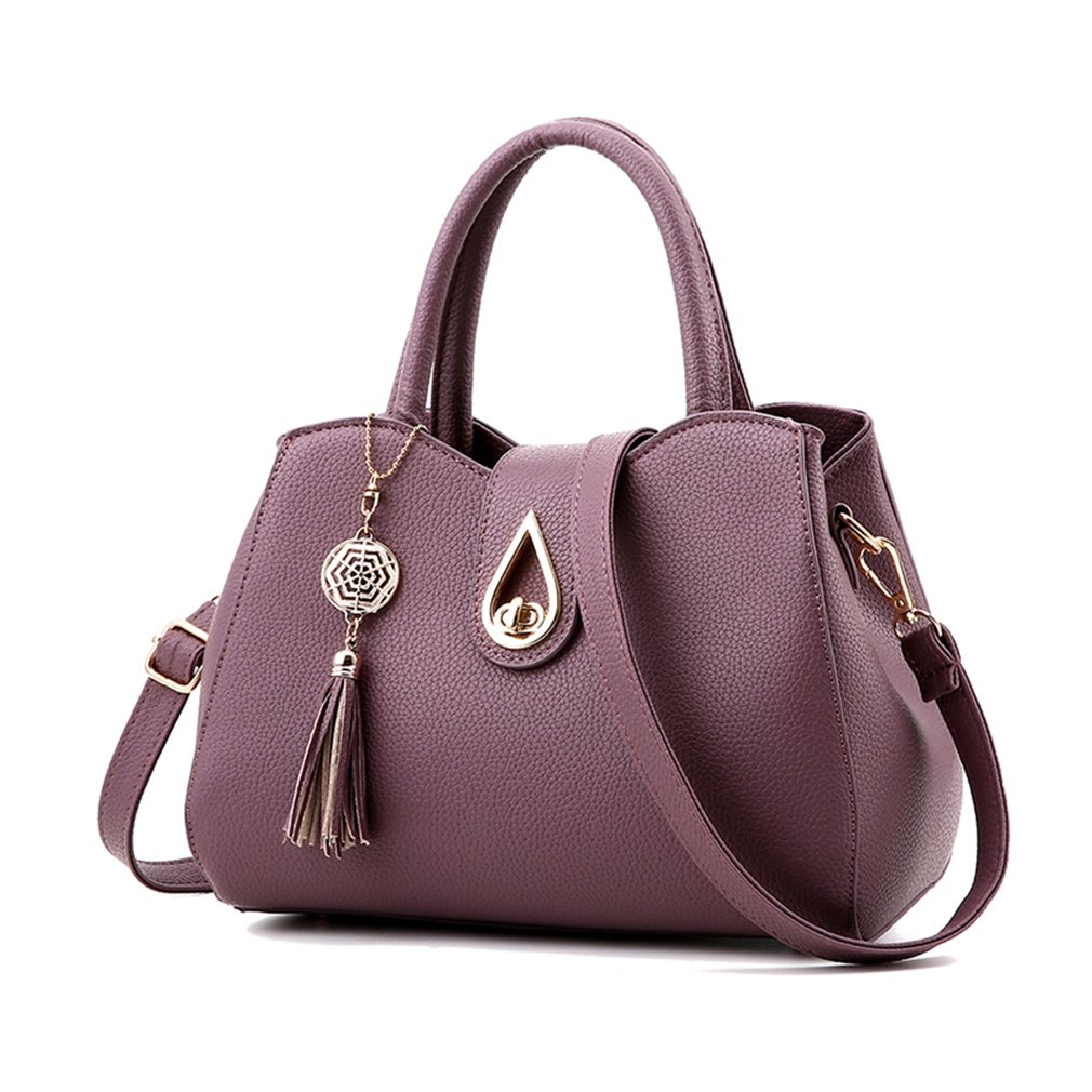 Pahajim Women PU leather Tote Bags Small Satchel Purses Shoulder Tassel Handbags (purple)