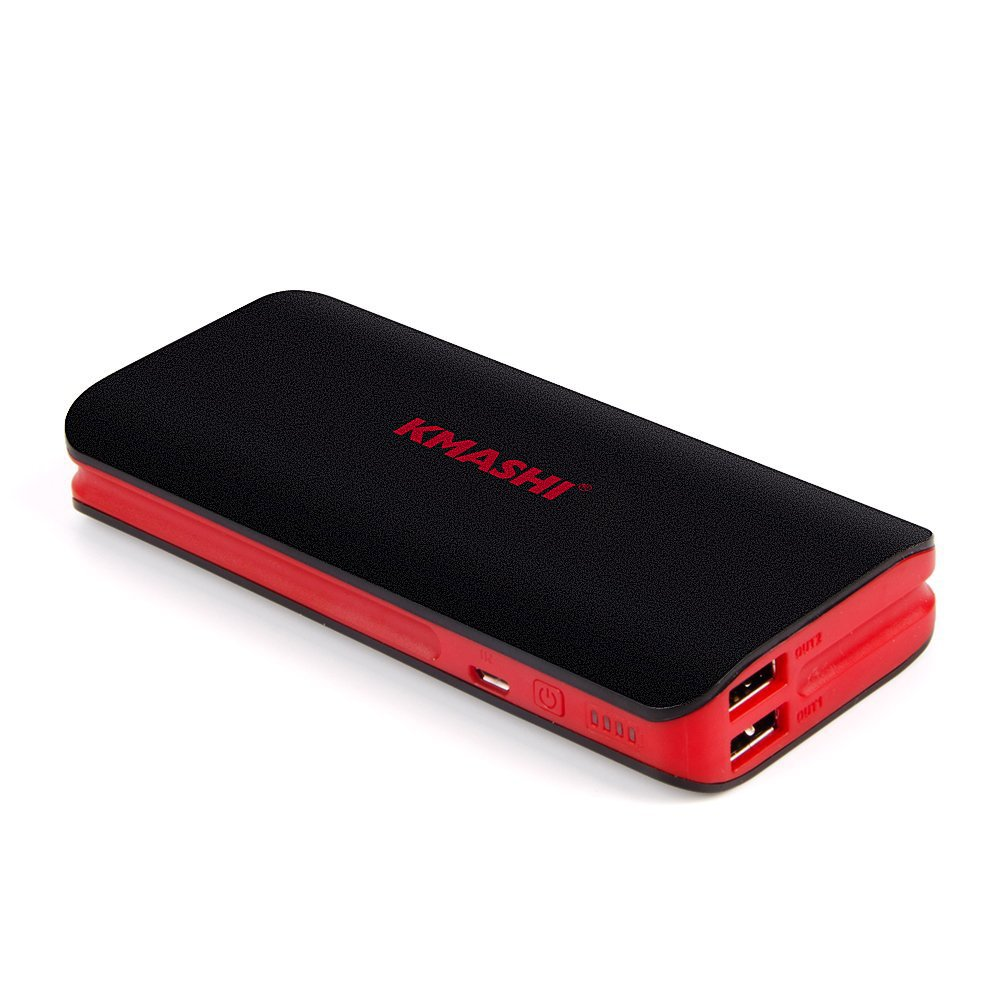 KMASHI 10000mAh Portable Power Bank with Dual USB Ports 3.1A Output and 2A Input - Black 6955574686973