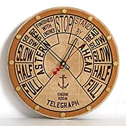 Engine order telegraph unique wooden wall clock, personalized gift, wall art, nautical decor, marine decoration