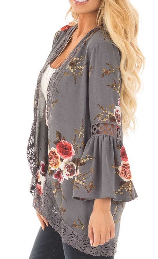 EachWell Women Floral Loose Bell Sleeve Kimono Cardigan Lace Patchwork Cover up Blouse Tops Gray,L