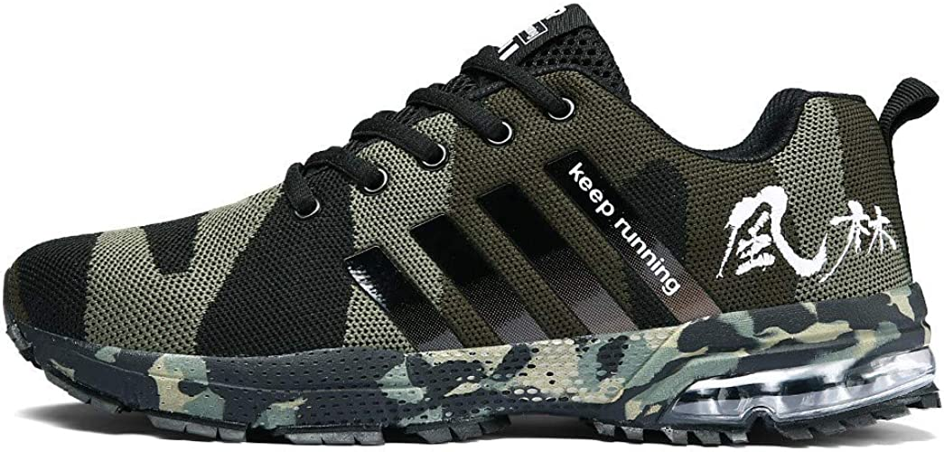 Mens Outdoor Hiking Army green Military Camo Lace-up Running Walk Casual Shoes