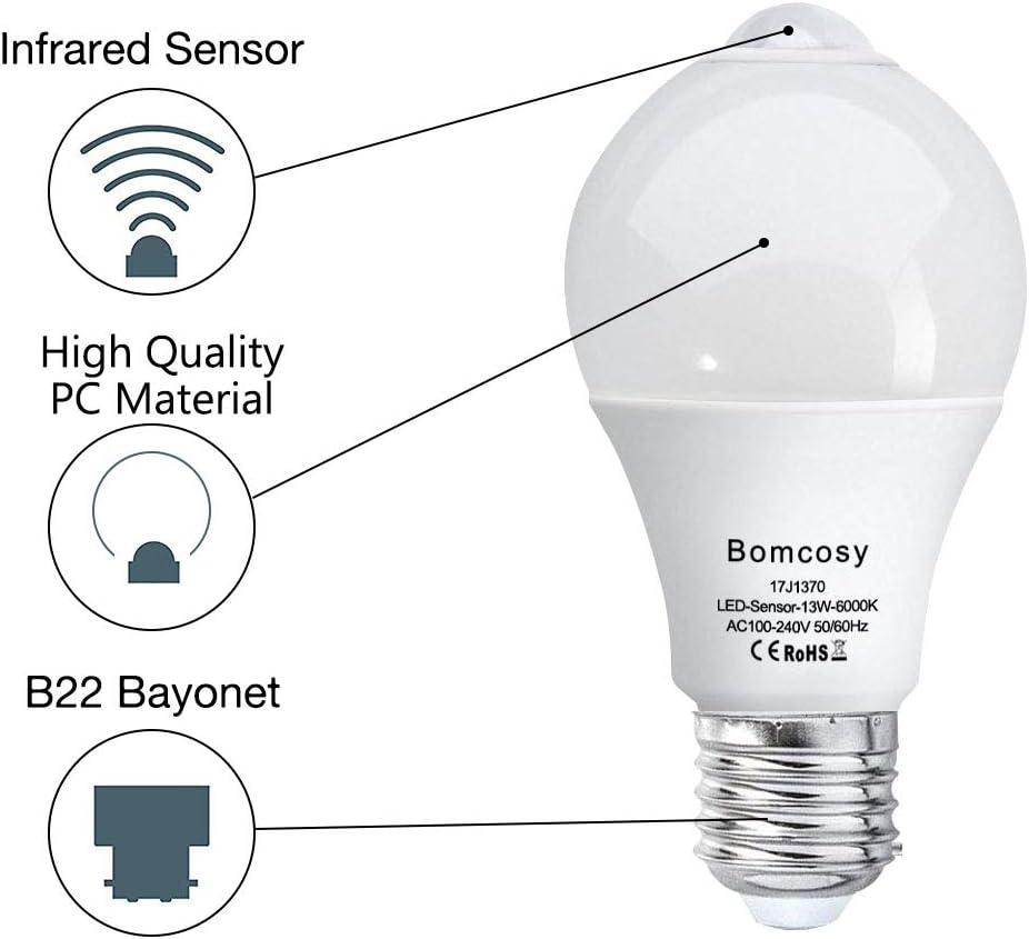 Pack de 2 bombillas LED 13 W, de la marca Bomcosy, con sensor PIR ...