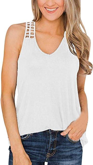VEMOW Tops Camisetas Mujer Blusas sin Mangas con Cuello en V ...