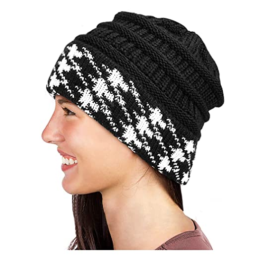 cf7817f65eb Glamorstar Winter Houndstooth Knit Hat Cable Soft Stretch Knit Beanie Hat  for Women Black A
