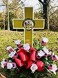 Eternal Light - Solar Lighted Cross - Army Cemetery Veteran Memorial Grave Garden Decoration