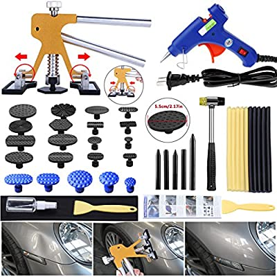 Gliston Auto Dent Puller Kit - Adjustable Golden Dent Remover Tools Paintless Dent Repair Kit Dent Lifter Puller for Car Large & Small Ding Hail Dent Removal: Automotive