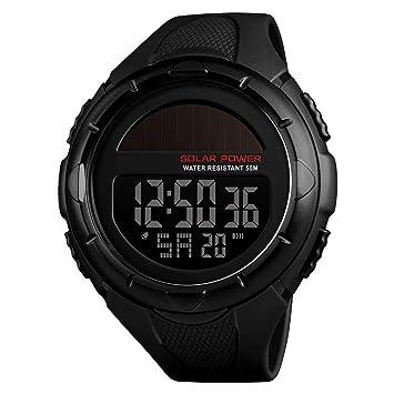 Reloj electrónico a Prueba de Agua Solar, Reloj Deportivo Digital para Estudiantes Adolescentes, Reloj