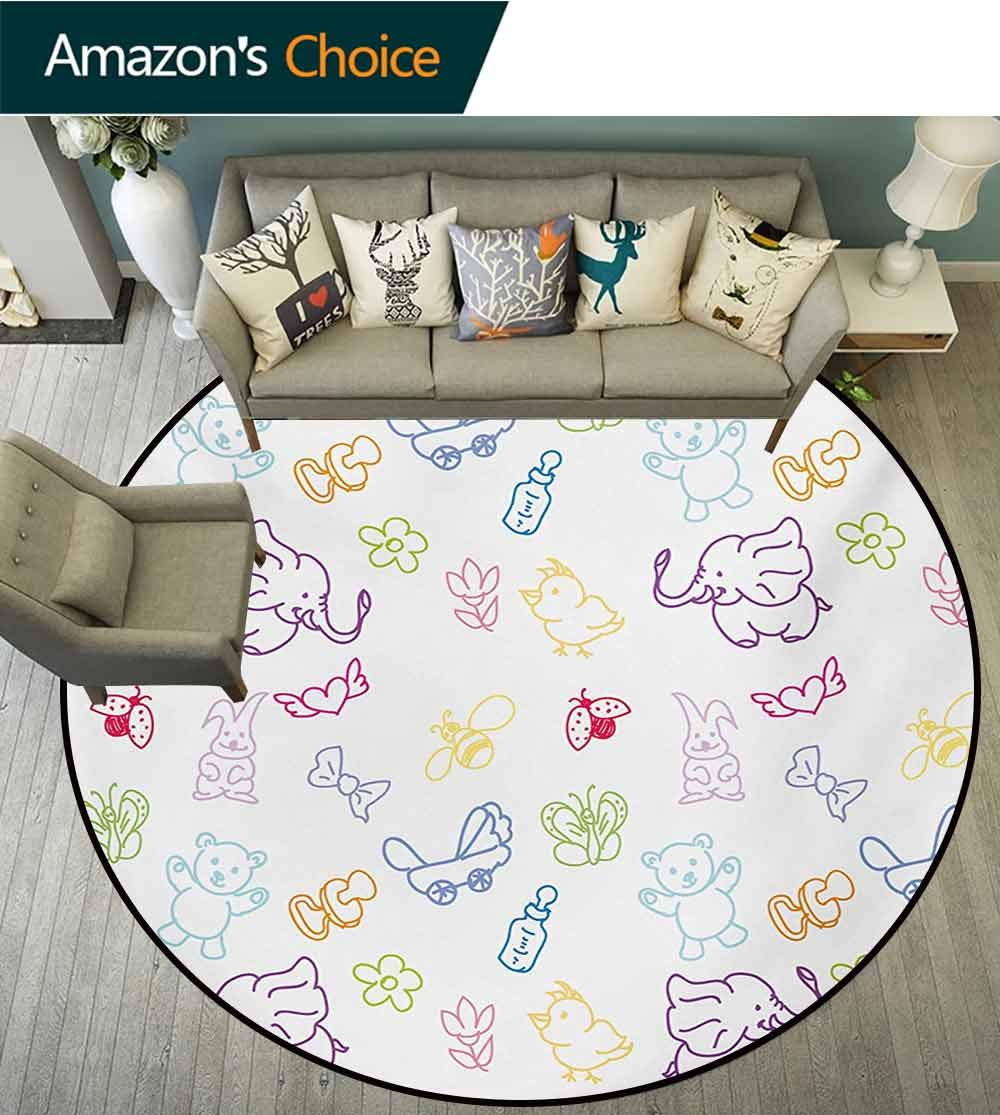 RUGSMAT Nursery Art Deco Pattern Non-Slip Backing Round Area Rug,Cartoon Drawing Style Baby Elephants Teddy Bears Flowers Butterflies Bees Pattern Study Super Soft Carpet,Diameter-59 Inch