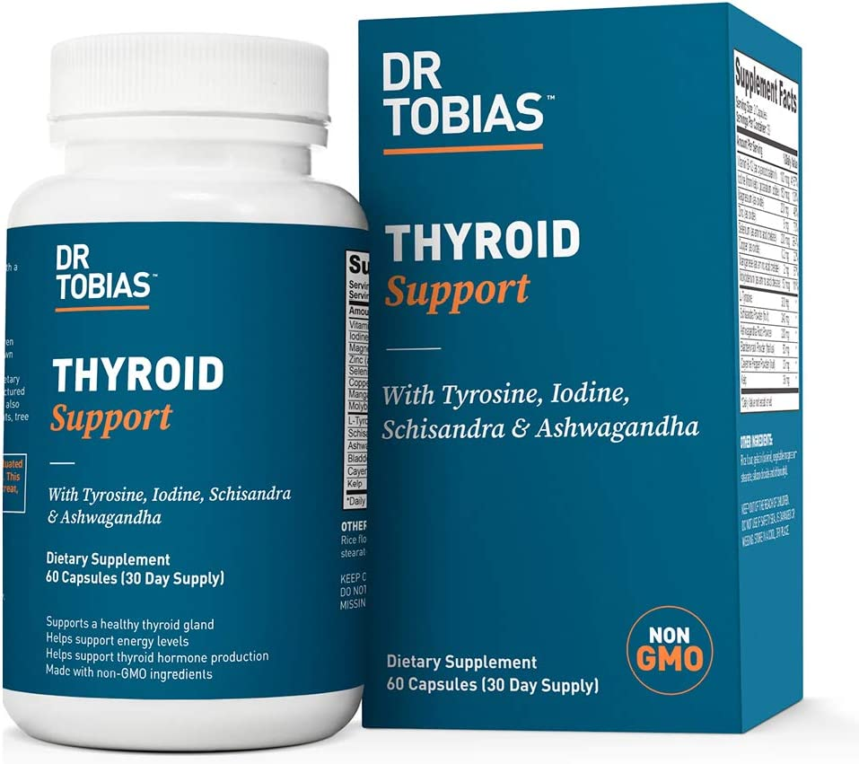 Dr Tobias Thyroid Support - Herbs & Vitamin Supplement (60 Count)