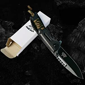 *New CROCBAIT Knife* Folding Pocket Knife Hunting Camping Fishing Survival Tactical Bushcraft with *Free* Quality Keyring
