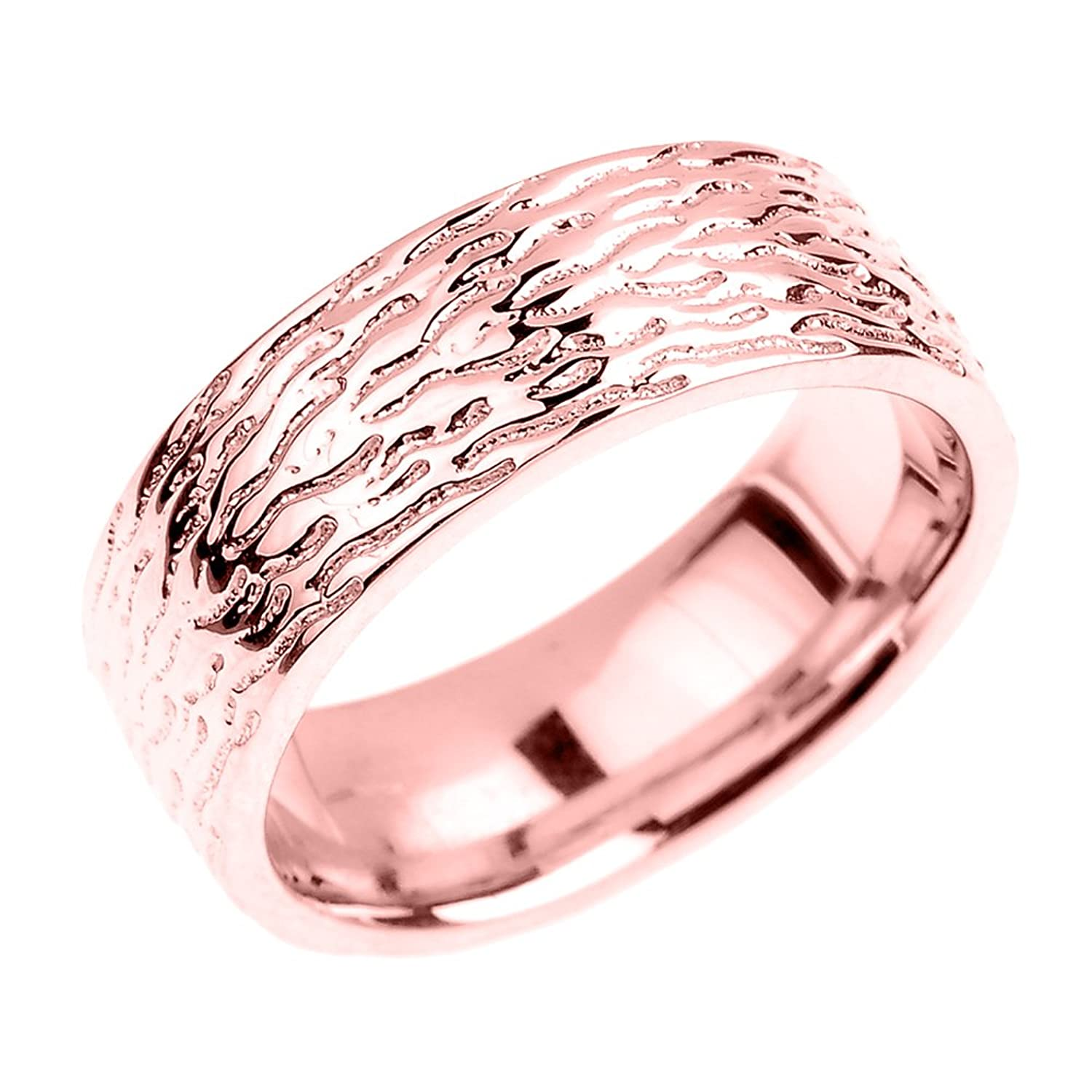 Amazon.com: Solid 14k Rose Gold Textured 7mm Wedding Ring: Claddagh ...