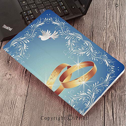 - Case for Samsung Galaxy T820 T825 Slim Folding Stand Cover PU Tab S3 9.7,Wedding Decorations,Ornament Frame and Two Flying Doves Heart Shapes Wedding Rings,Blue White Gold