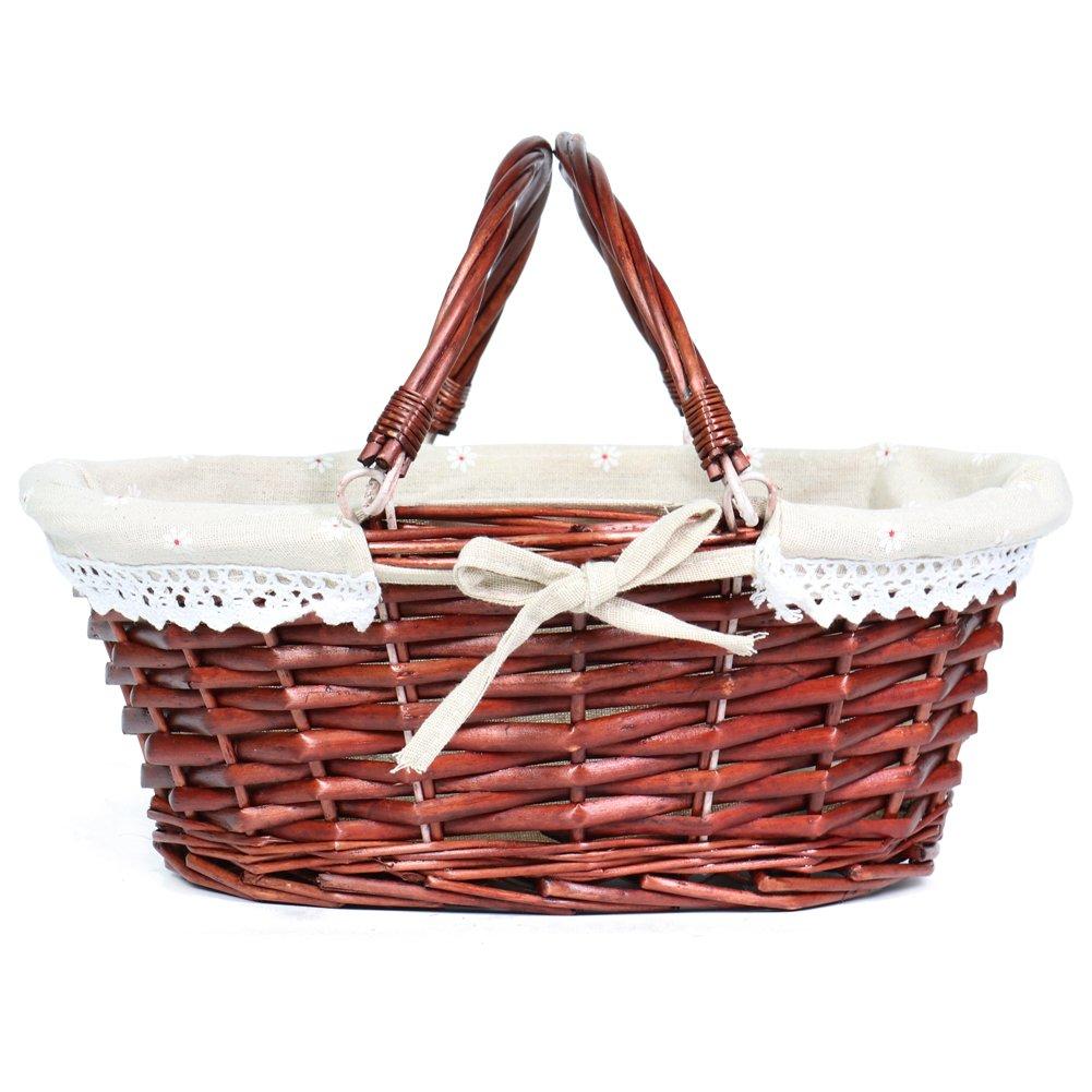 MEIEM Wicker Basket Gift Basket Oval Willow Basket with Double Drop Down Handles Cheap Wicker Woven Picnic Basket (Brown)