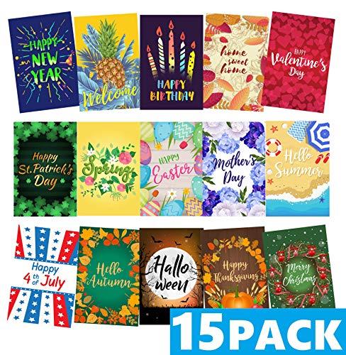 Mogarden Seasonal Garden Flags Set - 15 Pack, Free 2 Stopper & 2 Wind Clip & USA Flag Car Sticker, Artistically Designed Yard Flags, Double Sided, 12