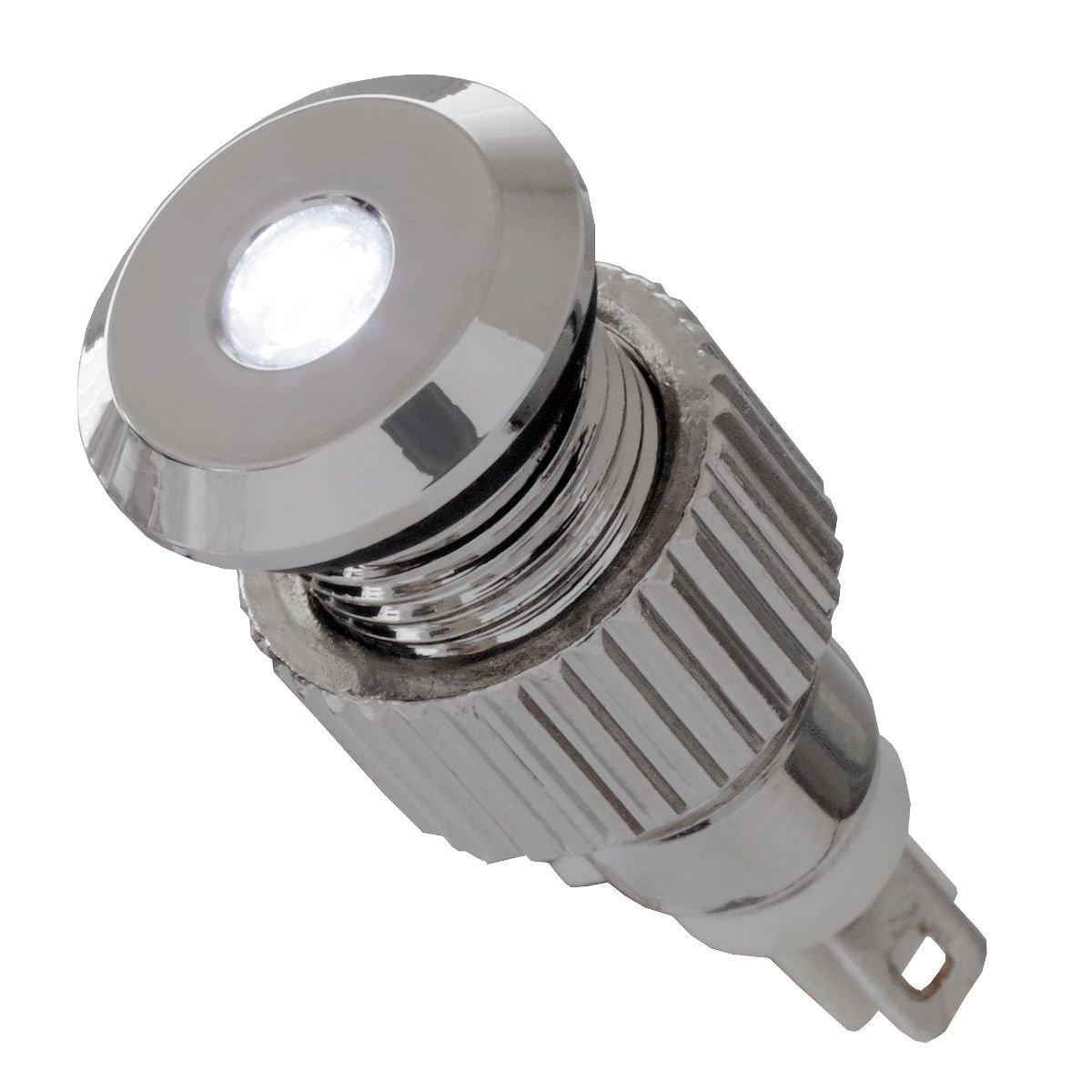 12V LED Signalleuchte IP67 weiß mit 8mm Metallfassung Signallampe Meldeleuchte Kontrollleuchte Leuchtmelder Signalgeber Daier