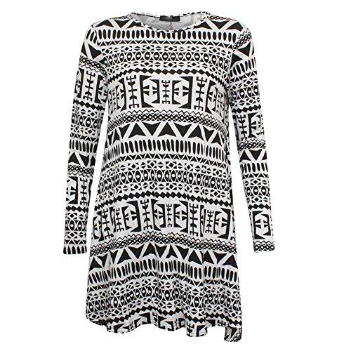 Janisramone Frauen gedruckt strecke langarm viscose schaukel -kleid nach oben Größe 8-22