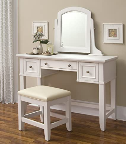 Bon Home Styles 5530 72 Naples Vanity Table And Bench, White Finish