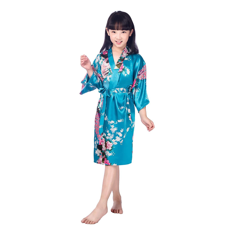Hibote Bambini Ragazze Robe di Seta Robe di Raso Breve Pigiama a Fiori Colorati in Kimono