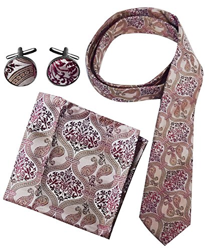 Peach Couture Men's Paisley Boho Style Necktie Cufflinks Pocket Square Handkerchief Set (Beige/Red