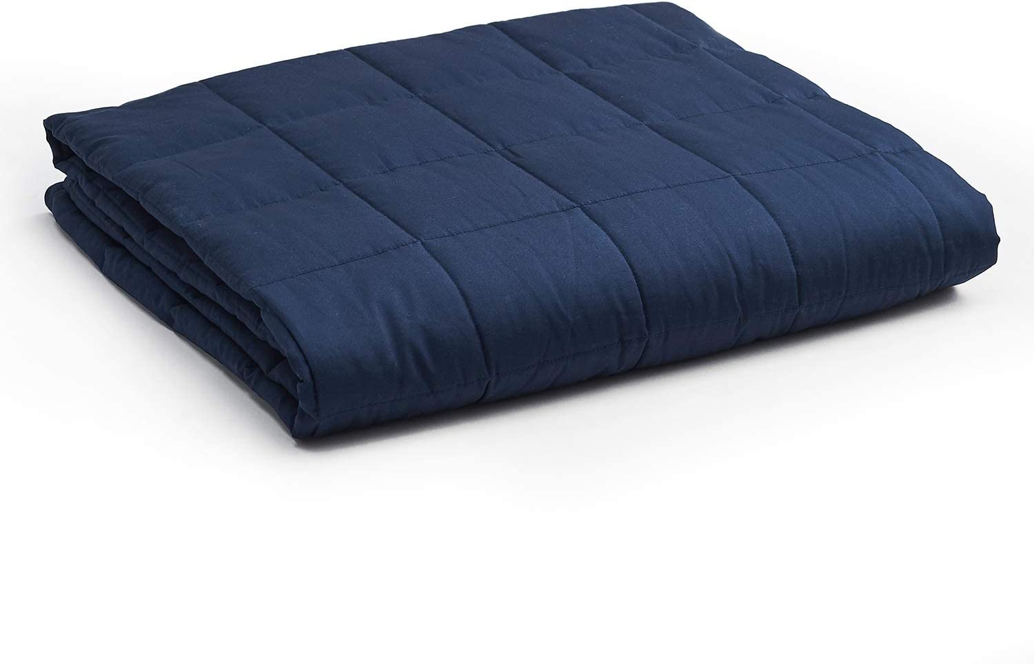 YnM Weighted Blanket — Heavy 100% Oeko-Tex Certified Cotton Material with Premium Glass Beads (Navy, 60''x80'' 15lbs), Suit for One Person(~140lb) Use on Queen/King Bed
