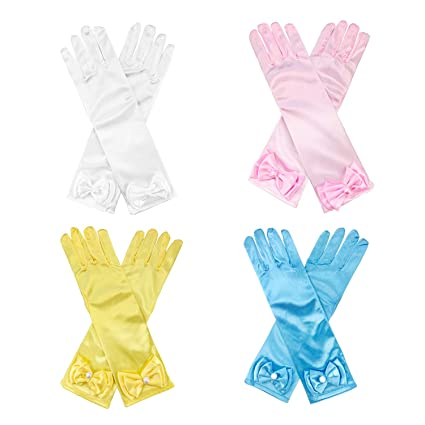 9c1b901f7b Amazon.com  CODOHI Girls Satin Dress Princess Gloves (4 Pairs) for Tea  Party -for Age 4-10  Toys   Games